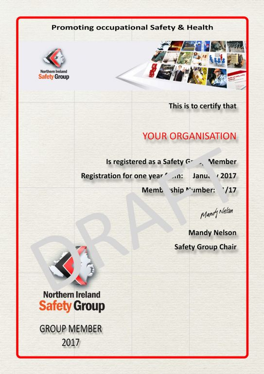 Annual Members Certificate Northern Ireland Safety Group
